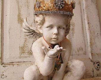 Cherub statue w/ ornate crown French Nordic painted distressed angel figure handmade elaborate rhinestone crown decor anita spero design