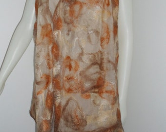 Mocha Marble Nuno Felted Scarf Sheer Beige Silk with Copper and Light Brown