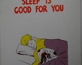 Vintage 1957 School Poster    Health Series, Set 1 - Primary Grades    Sleep Is Good For You    Hayes School Publishing    Wilkinsburg, PA