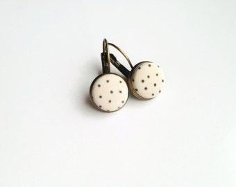 Brass polka dot earrings beige - Minimalist dangle earrings Fabric covered button jewelry Leverback earrings Made in Quebec Mamzelle Bouton
