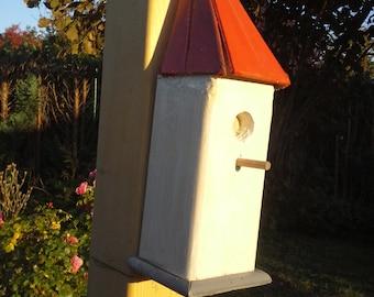 "Decoration ""Bird House - red - white-"
