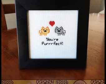 You're Purrrfect Cross Stitch (Printable PDF Pattern) - Immediate Download from Etsy - Cute Cat Love