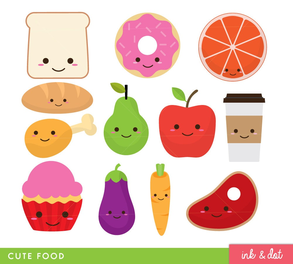 Cute Food Clip Art Fruit Donut Kawaii Faces Food Clipart