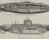 1905 SUBMARINES, antique print. Submarine. 111 years old print.