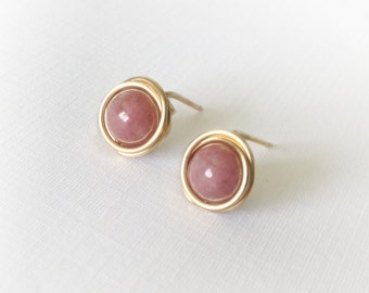 Rhodonite stud earrings - 14k gold-filled wire wrapped ear posts, pink rose mauve Gift 8mm 10mm
