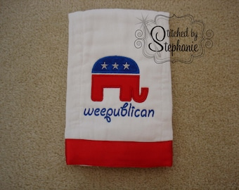 Custom weepublican patriotic red white and blue July 4th elephant burp cloth baby shower gift