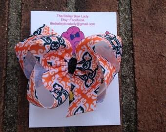 SALE-Orange and Black Halloween Mosaic Boutique Hair Bow