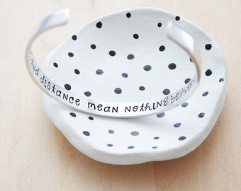 Time & Distance Mean Nothing Between Sisters Cuff - Sisters Jewelry - Secret Message Cuff Bracelet - Hand Stamped Silver Quote Cuff