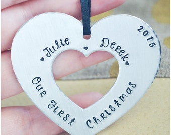 Our First Christmas Ornament - Couple's 2016 XMas Tree Ornament - Hand Stamped Our First Christmas as Mr. & Mrs. Heart Ornament