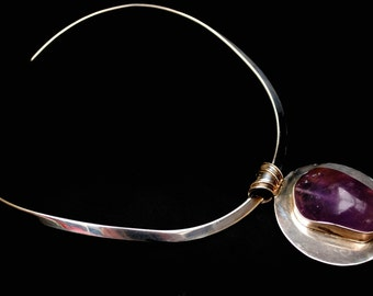 Bold Modernistic  Amethyst Sterling  necklace -  sterling Silver collar  Large Polished purple gemstone - Statement necklace