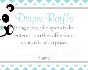 Teal Chevron Baby Boy Panda Baby Shower Diaper Raffle ticket  -(Printable JPG File)