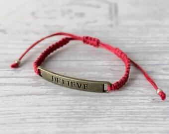 Believe bracelet Red bracelet Affirmation jewelry Yoga bracelet Kabbalah bracelet Lucky bracelet Protection bracelet Macrame bracelet