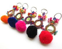 Jamboree Keychain Handcrafted Mirror with beadwork and Pom Pom Keyholder Gift for Her Gift for Friend Assorted Colors