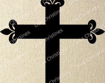 Cross, Easter Illustration, Instant Download, Clipart, Digital Transfer Image for Papercrafts, Pillows, Fabric, Iron on Transfer 226