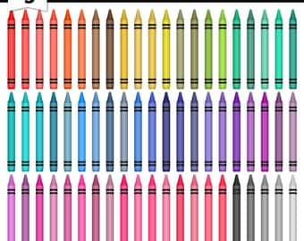 Digital Clipart Crayons-Colorful Crayons-Bright Colors-Teachers-Digital Crayons-Printable Colors-School Supplies-Instant Download Clip Art