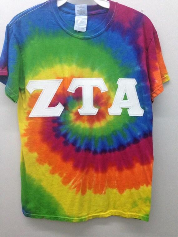 zeta tau alpha sorority small tie dye t shirt with