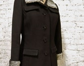 60s Black Wool and Curly Lamb Fur Jacket Coat