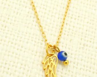 Gold Wing Necklace - Evil Eye Necklace - Feather Necklace - Gold Filled Necklace - Charm Necklace - Layering Necklace - Unique Xmas Gift