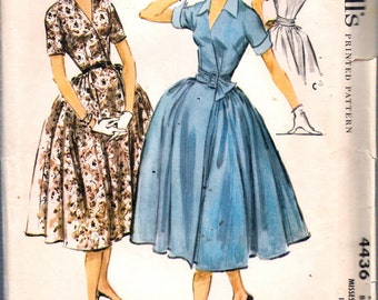 """Vintage 1958 McCall's 4436 Wrap-over Dress with Full Skirt Sewing Pattern Size 12 Bust 32"""" UNCUT"""