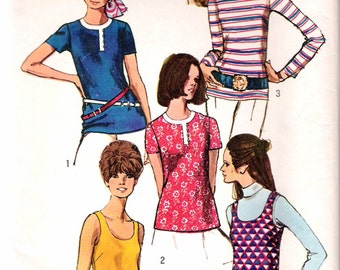 """Vintage 1970 Simplicity 8834 Blouses & Tank Top Sewing Pattern Size 8 Bust 31 1/2"""""""