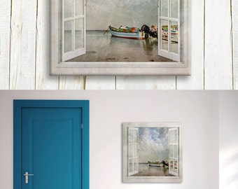 Fisherman boat docking on the shore - art printed on canvas - housewarming gift idea