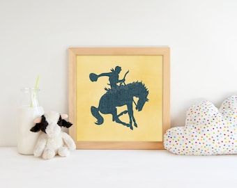 Cowboy Decor Western-Themed art Rodeo Nursery Wild West Ranch Old West Baby Boy Nursery Blue Denim and Yellow Baby Shower Gift Teen Decor