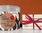 """Jar filled with choice of Bible verses, Bless the Lord oh my Soul, Mother's Day, Graduation, Get Well Gift, Encouragement, """"Ivory Leaves"""""""