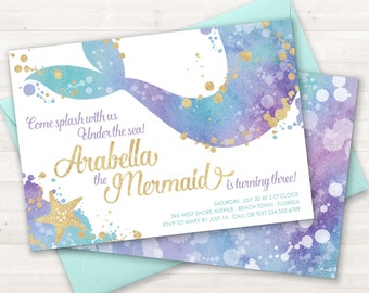 Mermaid Invitation, Mermaid Party Invite, Under the Sea Party Invitation, Teal Purple Gold, Little Mermaid, Birthday Invitation, Pool Party