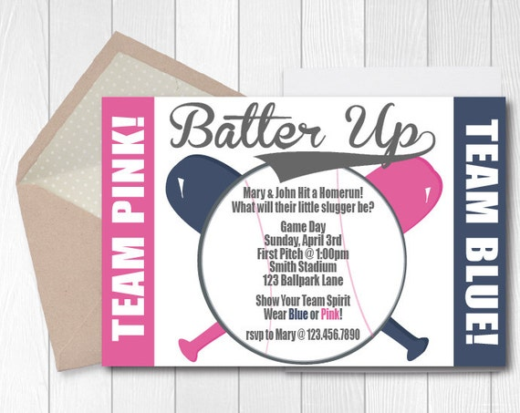 Baseball Gender Reveal Party Invitation Printable Gender – Gender Reveal Party Invite
