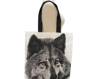 Wolf Canvas Bag Animal Tote Bag Screen Print