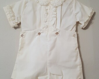 Vintage C.I. Castro  White, Lace-Trimmed Boys 2 piece outfit- Size 12 months- New, never worn