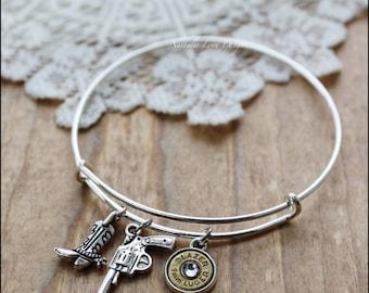 Bullet Bracelet, Bullet Jewelry, Bullet Bangle, Bangle Bracelet, Silver Bracelet, Charm Bracelet, Ammo Jewelry