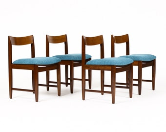 Danish Modern / Mid Century Dining Chairs — Mahogany Frames — Blue textile — Set of Four