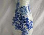 Off White Hand Painted Cobalt Blue Floral Motif | High Glaze | Unsigned | Vintage 1950s