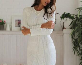 "Knitted viscose white dress ""Intelligent"" with milky lace, sweet stylish model. Midi dress"