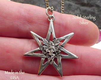 Sterling Silver Fairy 7-Pointed Star with Fairy Necklace, .925 Fairy Septagram Pendant on Chain, Faery Wiccan Jewelry - SE-0410
