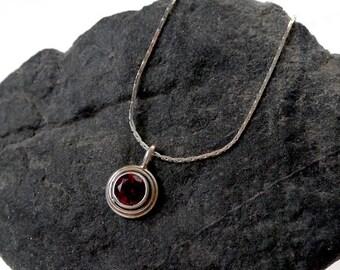 Sterling Silver Garnet Necklace, .925 Silver Almandine Garnet Faceted Solitaire Gemstone Necklace, Small Red Garnet Charm Necklace, SE-809