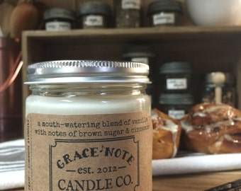Donut Candle, Soy Candle, Soy Wax Candle, Natural Soy Candle in our SATURDAY MORNINGS Scent, Bakery Candle, Vanilla Cinnamon Candle