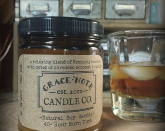Soy Candle, Coconut Bourbon Soy Wax Candle, Natural Soy Candle in our JUST CHILL Fragrance , 2016 Candle Scent, Vintage Inspired Candle