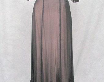 1930s Black Sheer Formal Ginger Rogers Big Ruffled Bottom Hardly Worn Size Medium