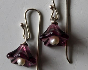 SALE-sterling silver purple amethyst  bellflower Czech glass earrings with natural fresh water pearl and handmade  sterling ear wires
