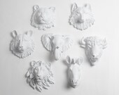 Faux Taxidermy - Create Your Own Zoo - Pick Any Three (3) White Miniature Faux Taxidermy Pieces From the Picture to Create Your Own Zoo