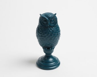 The Petrol Owl Bust w/Pedestal- Petrol Barn Owl Bust - Owl Decor - Animal Statue - Tabletop Accent Faux Owl Head by White Faux Taxidermy