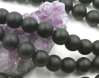 "Lot of 5 Strands 14mm Matte Black Onyx Beads Round 15.5"" (BD3825)"