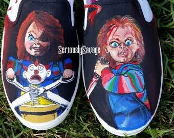 New! Custom Painted Classic Horror Movie Chucky Good Guys Childs Play Vans Converse Toms Mens Womens Children