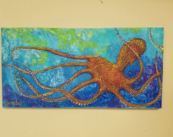 Octopus Painting Colorful Orange Textured Octopus, Ocean, Beach, Coastal Art, Original Acrylic Painting on 12 x 24 canvas
