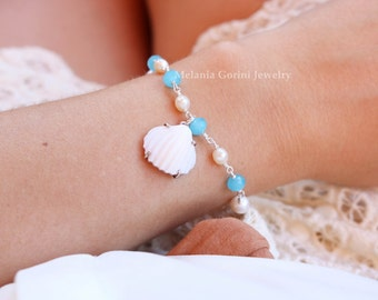 SHELL Bracelet-925 sterling bracelet with authentic shell cameo, sadonyx shell-blue chalcedony and freshwater pearls