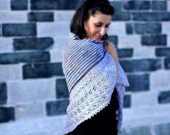 Handknit lace shawl / 100% Tussah Silk