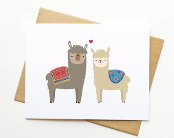 Alpacas Llamas Valentine's Day Wedding Love Anniversary Card