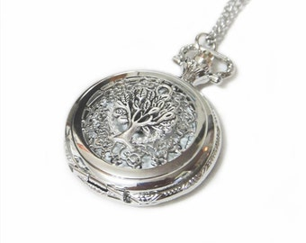 Tree of Life Antique Silver Pocket Watch Necklace